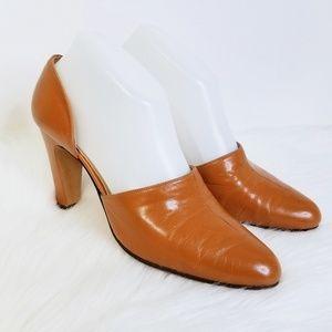 vtg 60s DORINA D'Orsay Pumps Caramel Leather Slim